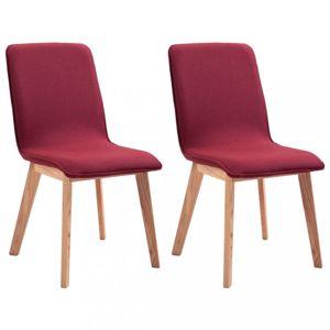 Jedálenská stolička 2 ks látka / dub Dekorhome Červená
