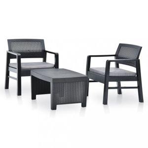 Záhradná sedacia súprava 2+1 plast Dekorhome Antracit