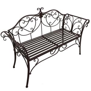 Záhradná lavička ETELIA kovová Tempo Kondela Hnedá