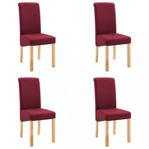 Jedálenská stolička 4 ks látka / drevo Dekorhome Červená