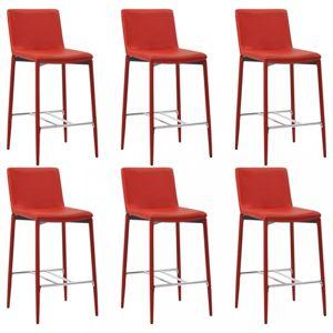 Barové stoličky 6ks umelá koža / kov Dekorhome Červená