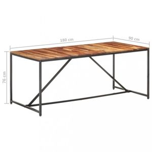 Jedálenský stôl masívne drevo / oceľ Dekorhome 180x90x76 cm