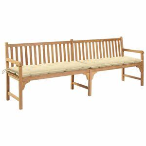 Záhradná lavička s poduškou 240 cm Dekorhome Krémová