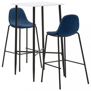 Barový set 3ks textil / biela Dekorhome Modrá