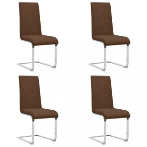 Konzolové jedálenské stoličky 4 ks umelá koža / kov Dekorhome Hnedá
