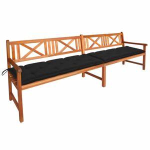 Záhradná lavička s poduškami 240 cm Dekorhome Čierna