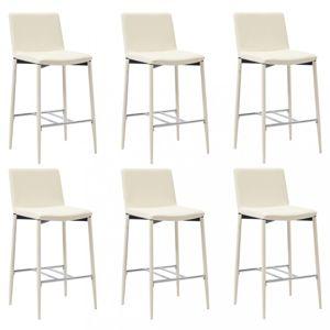 Barové stoličky 6ks umelá koža / kov Dekorhome Krémová