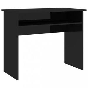 Písací stôl s policou 90x50 cm Dekorhome Čierna lesk