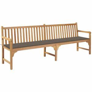 Záhradná lavička s poduškou 240 cm Dekorhome Sivohnedá