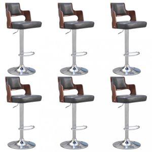 Barové stoličky 6 ks umelá koža / drevo / kov Dekorhome Čierna