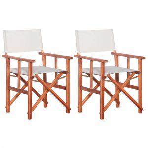 Režisérskej stoličky 2 ks akáciové drevo Dekorhome Biela