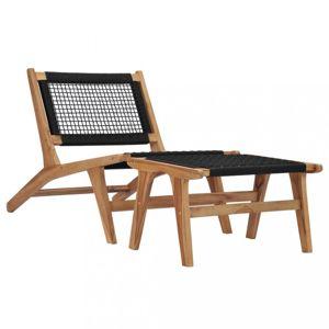 Záhradné ležadlo s podnožkou teakové drevo / povrázky Dekorhome