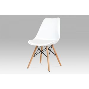 Jedálenská stolička CT-741 plast / buk Autronic Biela