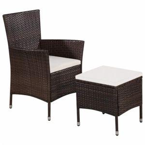 Záhradná stolička s taburetom polyratan Hnedá