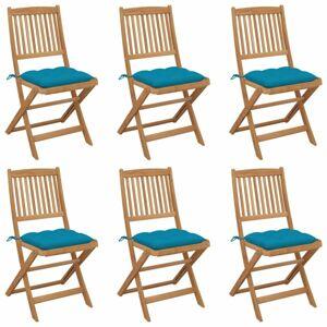 Skladacia záhradná stolička s poduškami 6 ks Dekorhome Modrá