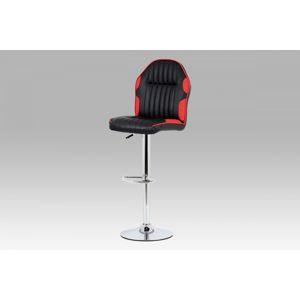 Barová stolička AUB-610 RED koženka čierna + červená / chróm Autronic