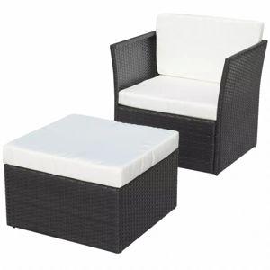 Záhradná stolička s taburetom polyratan Čierna