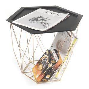 Odkladací stolík BELOR čierna / zlatá Tempo Kondela