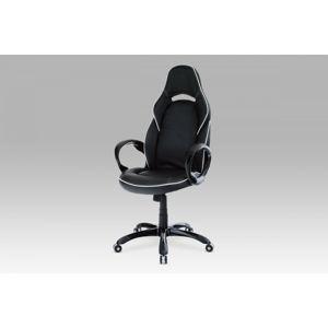 Kancelářská židle, koženka černá, houpací mech. / plast. Kříž KA-E490 BK Autronic