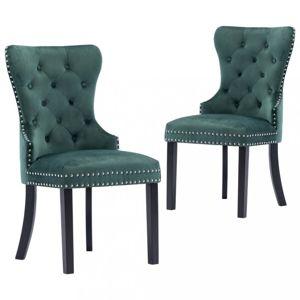 Jedálenská stolička 2 ks zamat / kaučukovník Dekorhome Tmavo zelená