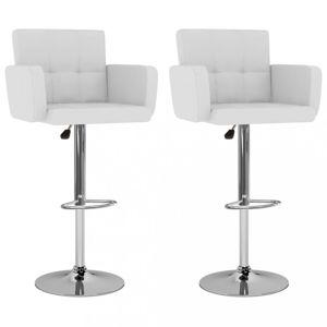 Barové stoličky 2 ks umelá koža / kov Dekorhome Biela