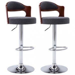 Barové stoličky 2 ks umelá koža / drevo / kov Dekorhome Tmavosivá