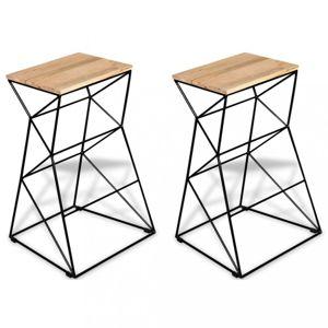 Barové stoličky 2 ks hnedá / čierna Dekorhome