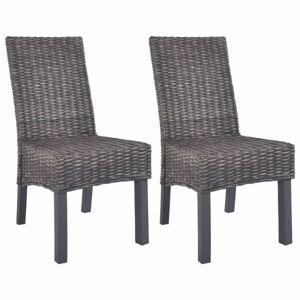 Jedálenská stolička 2 ks ratan / mangovník Dekorhome Hnedá