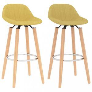 Barové stoličky 2 ks látka / buk Dekorhome Horčicová