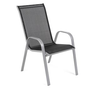 Záhradná stolička oceľ / textílie Čierna