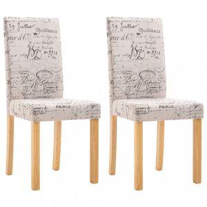 Jedálenská stolička 2 ks látka / drevo Dekorhome Krémová