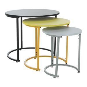 Set 3 odkladacích stolíkov RONEL NEW sivá / žltá / čierna Tempo Kondela