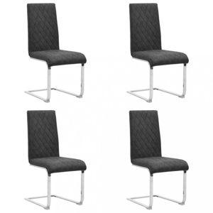 Konzolové jedálenské stoličky 4 ks umelá koža / kov Dekorhome Čierna