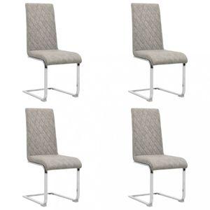 Konzolové jedálenské stoličky 4 ks umelá koža / kov Dekorhome Svetlosivá