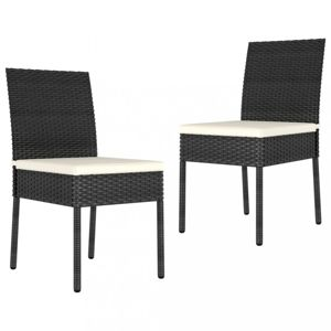 Záhradné stoličky 2 ks polyratan / látka Dekorhome Čierna