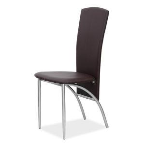 Jedálenská stolička tmavohnedá / chróm Tempo Kondela