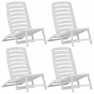Skladacie plážové stoličky 4 ks plast Dekorhome Biela