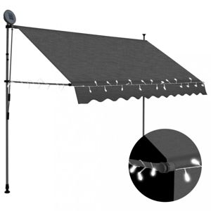 Ručne zaťahovacia markíza s LED svetlom 250 cm Dekorhome Antracit
