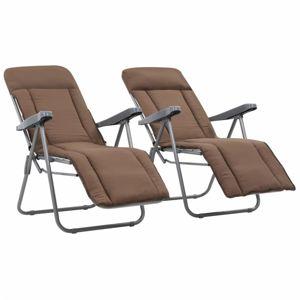 Záhradné stoličky s poduškami 2 ks skladacie Hnedá
