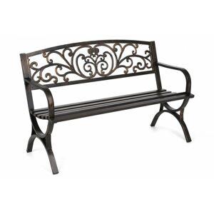 Záhradná lavička s patinou oceľ / liatina Zlatá