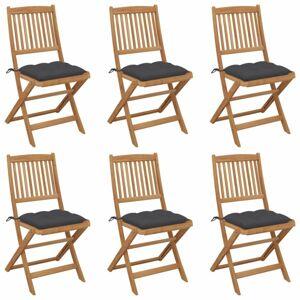Skladacia záhradná stolička s poduškami 6 ks Dekorhome Antracit