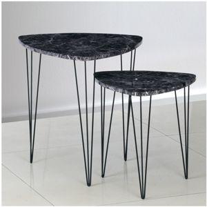 Set konferenčných stolíků STOFOL čierný mramor / čierný Tempo Kondela