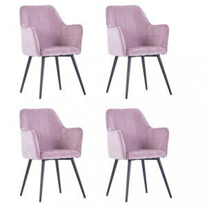 Jedálenská stolička 4 ks zamat / oceľ Dekorhome Ružová