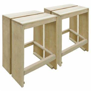 Záhradné barové stoličky 2 ks z borovicového dreva