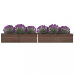 Záhradný kvetináč 600x80x45 cm pozinkovaná oceľ Dekorhome Hnedá