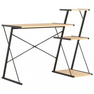 Písací stôl s policami drevotrieska / oceľ Dekorhome Čierna / dub
