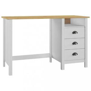 Písací stôl so zásuvkami masívne drevo Dekorhome Biela / hnedá
