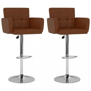 Barové stoličky 2 ks umelá koža / kov Dekorhome Hnedá