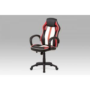 Kancelárska stolička KA-V505 RED červená / čierna / biela Autronic