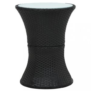 Záhradný odkladací stolík polyratan Dekorhome Čierna